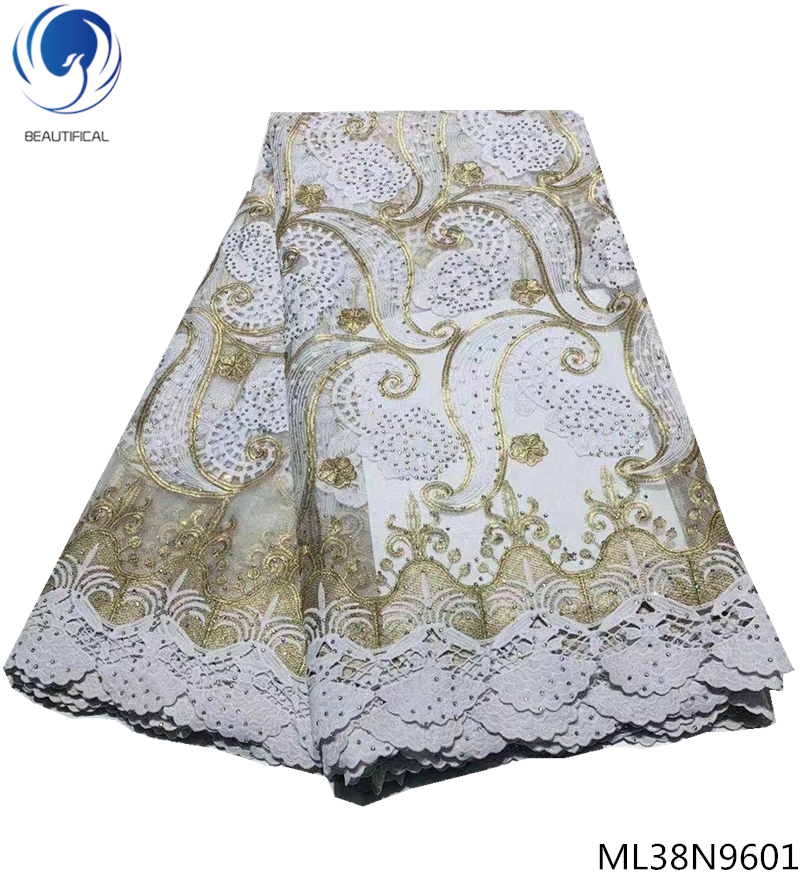 Beautifical nigerian tulle lace fabrics 2019 mesh tulle lace fabrics with guipure dress fabric with stones 5 yards ML38N96Beautifical nigerian tulle lace fabrics 2019 mesh tulle lace fabrics with guipure dress fabric with stones 5 yards ML38N96