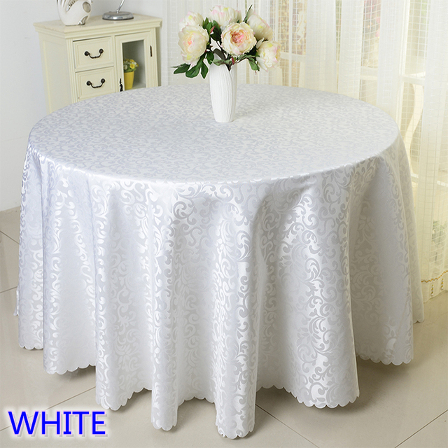 White Colour Jacquard Table Cloth Damask Pattern Table Cover For Wedding  Hotel And Round Table Linen