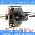 OV2710 2MP CCTV Módulo Da Câmera 1920*1080 AHD AHD 1080 P Lente de baixa Iluminação 0.001lux OSD Cabo 2000TVL 3MP 6mm/BNC cabo