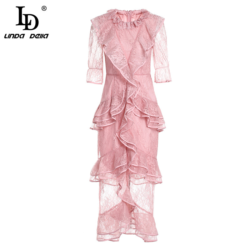 LD LINDA DELL New Elegant Pink Lace Dress Women s Tiered Ruffles Bodycon Mermaid Long Party