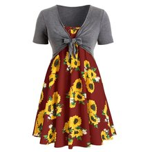 Fashion parkas mujer 2019 fashion Round neck lace short-sleeved sunflower print dress two-piece bodycon dress women party dress(China)