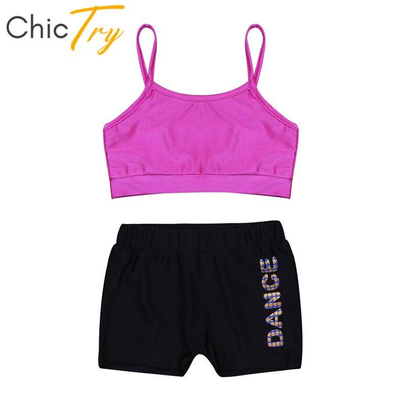 ChicTry Kids Two-piece Dance Wear Crop Top With Shorts Set Children Girls Ballet Dance Workout Gymnastics Shorts Tops Sports Set