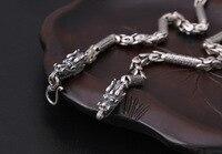 ручной работы 100% 925 серебряный дракон цепочки и ожерелья тибетский шесть слов пословица цепочки и ожерелья мощность дракон цепочки и ожерелья человек ювелирные изделия