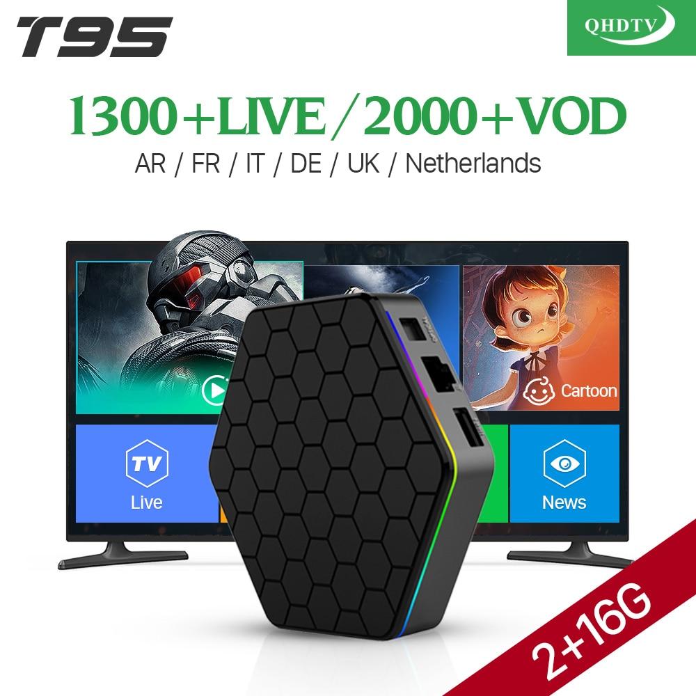 IPTV Europe Arabic 4K T95Z plus Android 7.1 Smart TV Box S912 Octa Core QHDTV Code Subscription French Netherlands UK IPTV Box