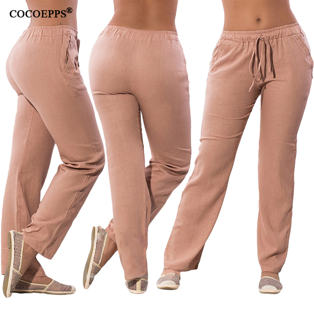 Women Casual Chiffon Pants Big Size Female Trousers Drawstring Elastic Waist Pockets Pants