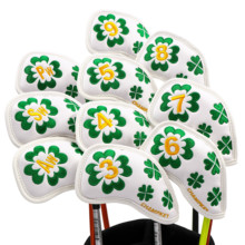 Buy NEW Champkey 10pcs/set Clover PU Leather Golf Iron Headcover Iron Club Covers Set 2 Colors for Choice directly from merchant!