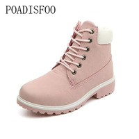 POADISFOO Autumn Winter Women Ankle Boots Lace Woman Snow Boots Shoes Plus Size 36 41 OutDoor
