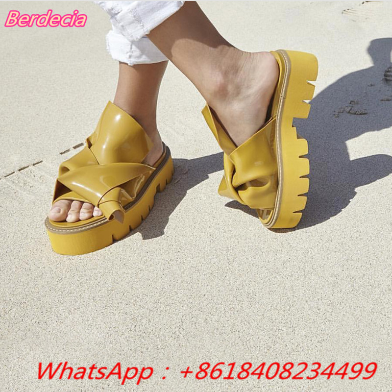 Lazy Slippers Rubber Bow Slide Women Sandals Chic Kartel Open Toe Knot High Platform Shoes Women Runway Mules Zapatos Mujer