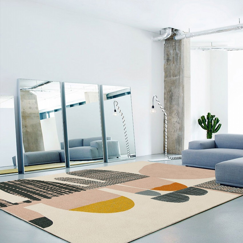 INS Popular Post-modern Geometric Living Room Rug, Coffee Table Machine Weaved Carpet, Big Size Nordic Decoration Villa Carpet