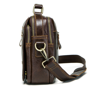 Image 2 - CONTACTS new oil cow leather mens messenger bag male satchel bag men crossbody bags masculina bolso big casual shoulder bags
