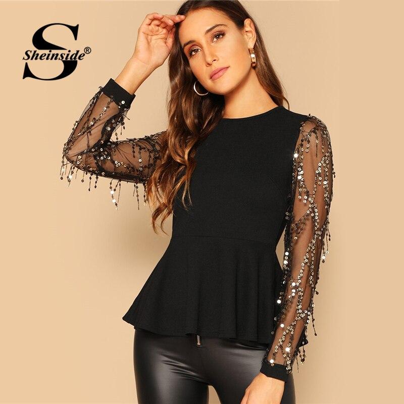 Sheinside Sequin Mesh Sleeve Peplum Top Women Black Blouse