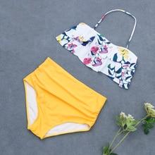 цена на 2019 Off Shoulder Detachable Bandeau Halter Bikini High Waist Swimwear Women Floral Ruffle Bathing suit Polka dots Swimsuit