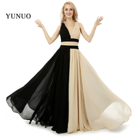 Sexy New Design Straight V Neck Backless Chiffon Black Champagne Prom Dresses Long Women Party Formal