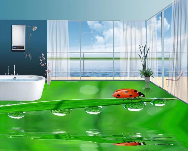 ФОТО customized 3d pvc flooring waterproof Ladybug drops landscape wallpaper 3d floor painting self-adhesive wallpaper