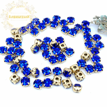 3mm 4mm 5mm 6mm 7mm 8mm Sapphire blue Diamond shape Glass Crystal rhinestones with gold claw Diy wedding dress accessories