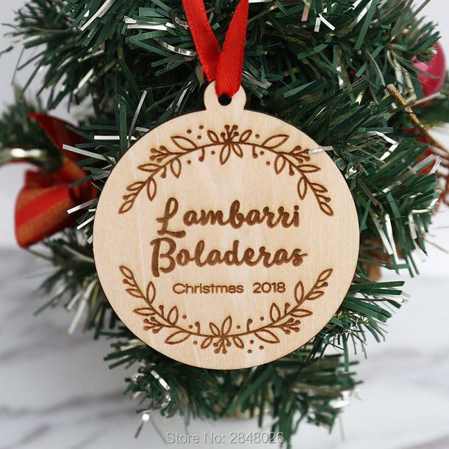 Personalized wooden Our First Family with Branch Christmas Ornament ...