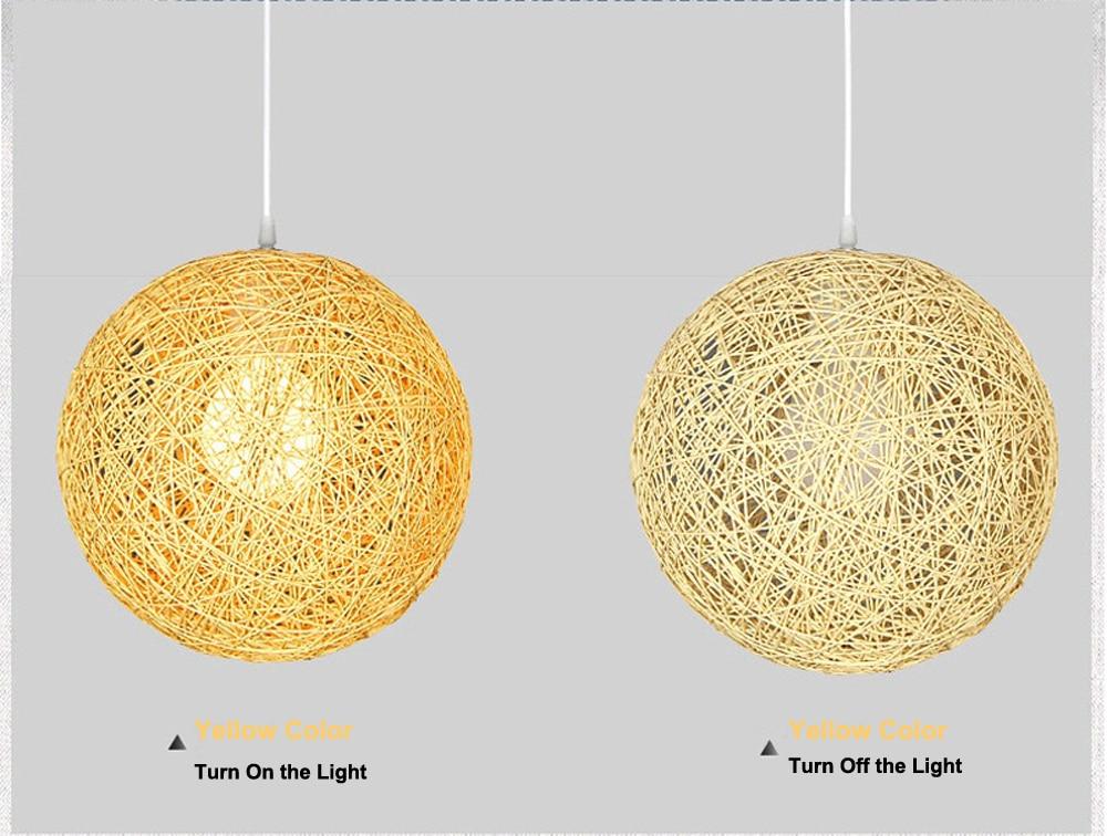LED Pendant Lights Weaving Bamboo E27 Idyllic Rattan Hanging Lamps Colorful Lighting Dining Room Restaurant Linen Art Light5