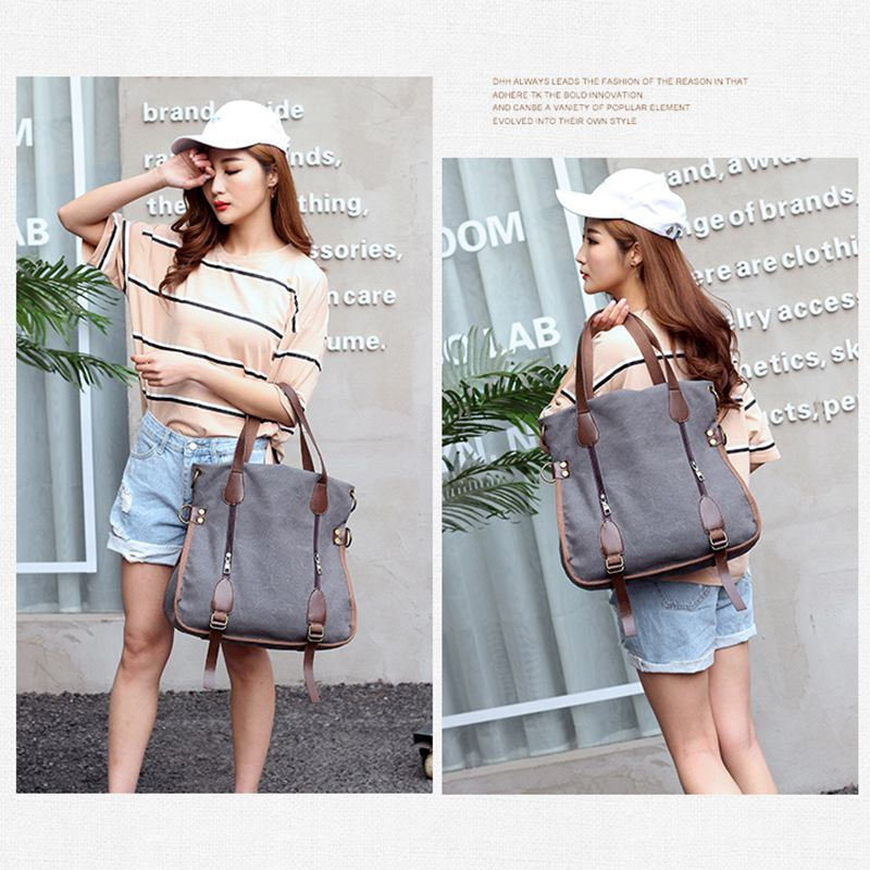 f5688aec1a New Women s Canvas Tote Bag Top Handle Bags Crossbody Messenger Bag  Shoulder Handbag(Grey) on Aliexpress.com