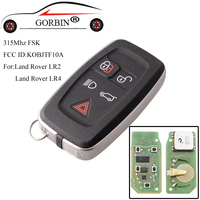 GORBIN 5Buttons Remote key For Land Rover KOBJTF10A 315Mhz For Land Rover LR2 LR4 2010 2015 without emergency key