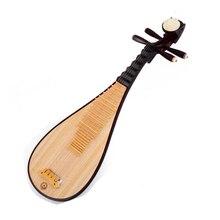 中国リュートピパ国家弦楽器パイpa子供演奏ピパハード木材表面とplataneウッドバック骨の花