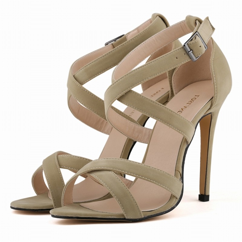 Loslandifen New summer women high heels sandals shoes woman fashion sexy cross-tied peep toe party wedding stiletto buckle shoes new fashion 2017 army green sandales talon femme lace up high heels party shoes women cross tied strappy gladiator sandals women