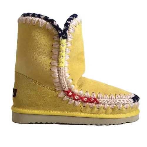 De gray Piel Europa Mujeres white Botas Última Lana 6 Las Yellow Oveja 2019 100 Calidad La Nieve En Colores Entrega Alta HFqAwxq