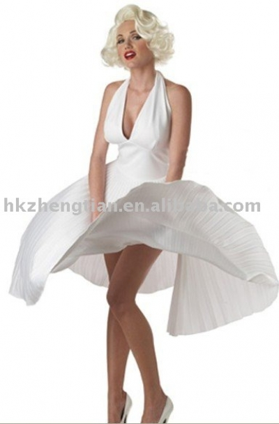 Zt8547 Adult Marilyn Monroe white Costume Deluxe Sexy Fancy Dress Hollywood