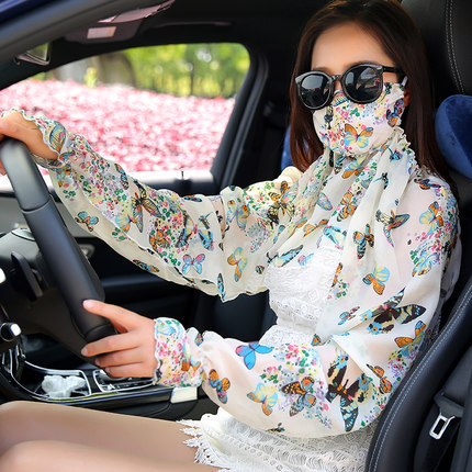 Women Summer Driving Sunscreen Scarves With Mask Shawl Poncho Flower Printed Sun Protection Shawl Beach Shawl Bikini Cover
