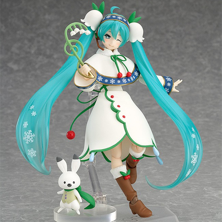 Hatsune Miku Figma 024 Snow Miku Snow Bell ver. PVC Action Figure Collectible Model Toy, Anime model Birthday / Christmas gifts 1pcs 10cm nendoroid anime hatsune miku sakura miku q ver pvc action figure collection model toy doll christmas gifts with box