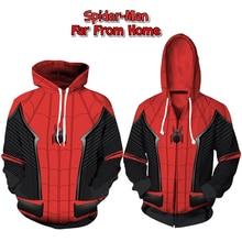 Spider-Man Hoodie Far From Home Cosplay Sweatshirt Peter Parker Costume 3D Superhero Zipper Jackets Unisex Hoodies