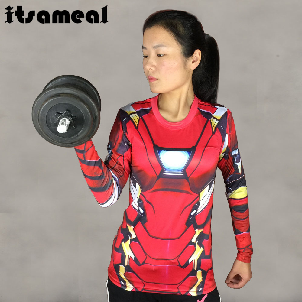 Iron Man MK46 3D Printed T-shirts Women Captain America Compression Shirt Long Sleeve Tops Female Cosplay Costumes For Lady