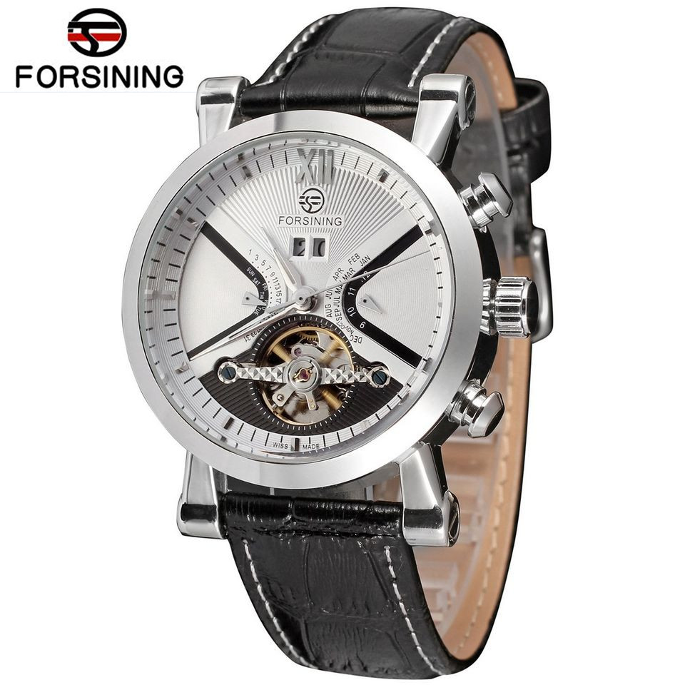 FORSINING Fashion Relogio Masculino Men's Day/Week/Month Tourbillion Watch Leather Watches Wristwatch Gift Box Free Ship 2016 luxury relogio masculino day week month tourbillon auto mechanical watch wristwatch valentine s day gifts box free ship