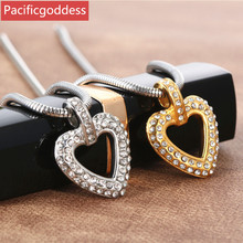 pacificgoddess hot sell stainless steel CZ stone necklaces pendant heart shape