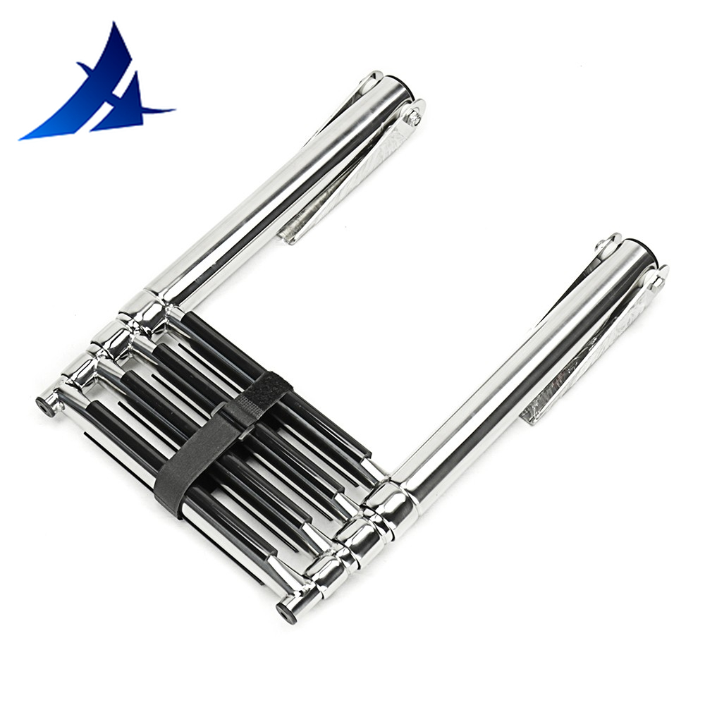 4 Step Stainless Steel Marine Boat Ladder Yacht Polished Steel Telescope Ladder