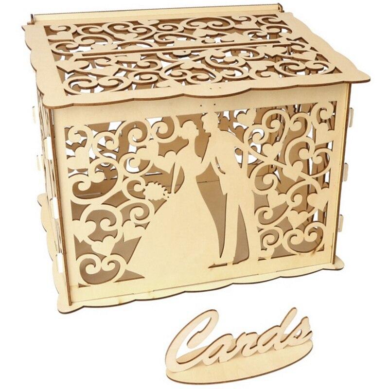 Hot Hollow Design Diy Wedding Card Box With Lock And Card Sign Gift Card Diy Rustic Hollow Wedding Money Box Wedding Anniversary