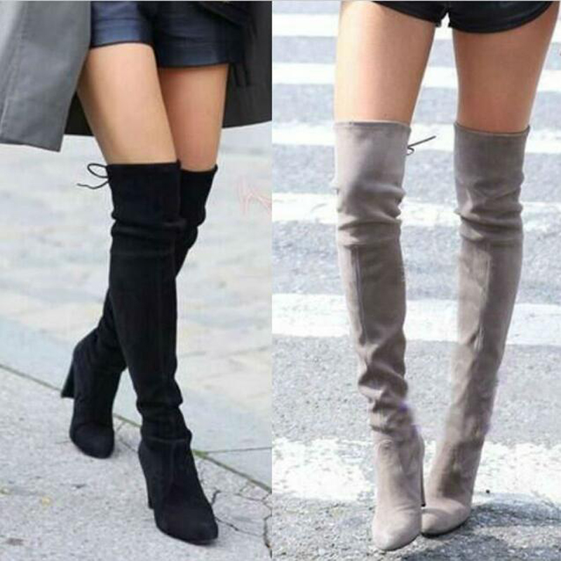 16e260aaae3 US $48.99 |Women Faux Suede Thigh High Boots Over the Knee Boots Stretch  Sexy Over knee High Heels Woman Shoes 8color size 35 43-in Over-the-Knee ...
