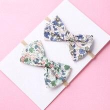 Handtied School Girl нейлоновый бант или заколки для волос, цветочный принт тканевый бант повязки на голову Baby Shower подарок