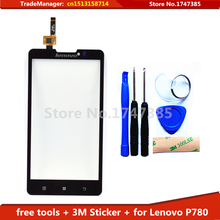 DIY Tools+Original New Black 5.0inch Touch Screen for lenovo p780 Digitizer TouchScreen Sensor With Logo Display
