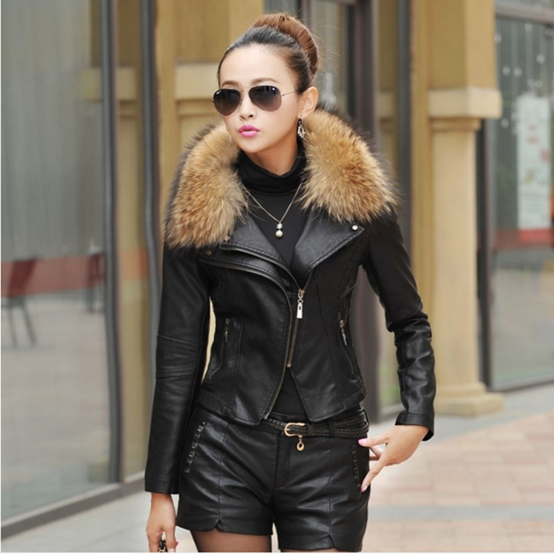 2018 Autumn New Women Genuine Racoon Dog Fur Collar Leather Jacket Slim Stand Collar Plus Cotton Motorcycle Leather Jacket M-5XL