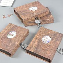 レトロパスワードロックカバーノートブックラインクリエイティブ仕切りコード日記トラベルジャーナル個人文房具細かいバインダープランナーA5