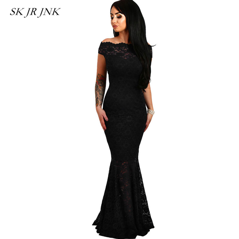 2018 Summer Women Long Dress Sexy See Through Slash neck Lace Fishtail Party Maxi Dresses Female Evening Club Vestidos LW157