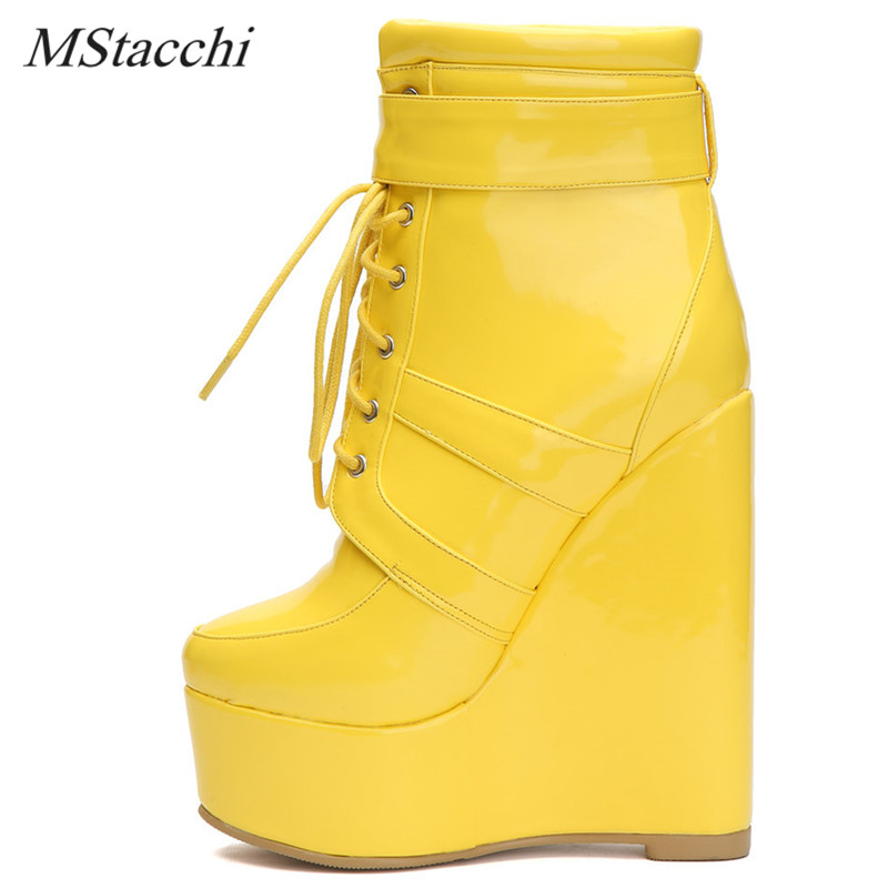 Mstacchi Fashion Women Ankle Boots Cross-tied Platform Shoe Spring Autumn Wedge Boots Woman Yellow Thick Bottom Heel Shoes 34-47Mstacchi Fashion Women Ankle Boots Cross-tied Platform Shoe Spring Autumn Wedge Boots Woman Yellow Thick Bottom Heel Shoes 34-47