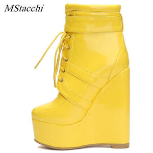 7c8ecfe5b34a Mstacchi Ankle Boots Platform Wedge Woman Yellow Heel Shoes