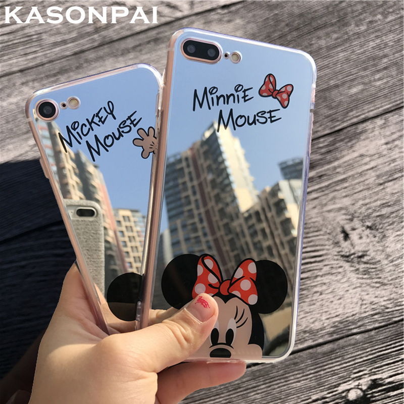 Galleria fotografica KASONPAI Mirror Mickey Minnie Cases For iPhone 7 Case Plating Soft Gel Phone Cases For iPhone 6S 7 Plus 5S SE Cover Coque Fundas