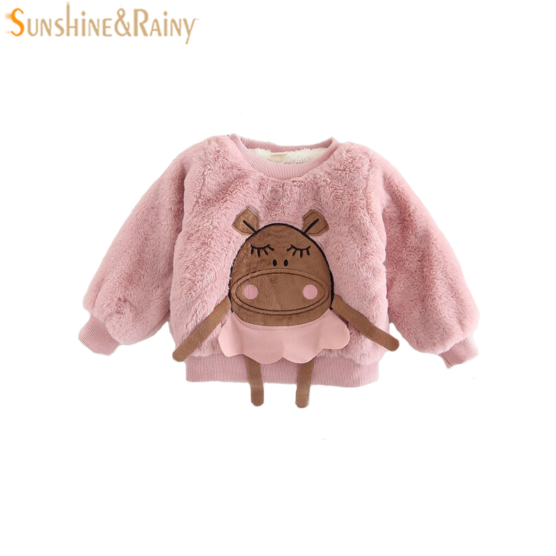 Baby Girls Sweatshirt Cartoon Animal Patch Girls Pullover Plus Velvet Winter Girls Fur Coat Children Shirts Tops Baby Clothes