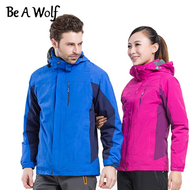 Be A Wolf Outdoor Hiking Jacket Women Men Windbreaker Camping SkiHunting Clothes Fishing Waterproof Heated Jackets J1508/J1509 2 pieces winter thermal waterproof camping jackets outdoor quick dry breathable hiking jacket men women clothes windbreaker 8029