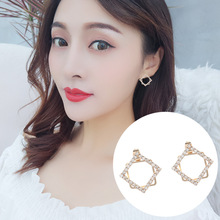 2019 New Women Earrings Elegant Ladies Temperament Geometric Female Simple Fashion Flash Diamond Eardrop Personality