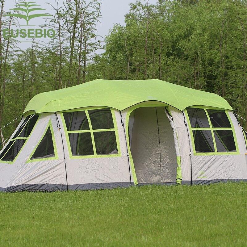 8-12 personnes utilisent une tente de Camping Ultralarge à Double couche avec de grandes fenêtres