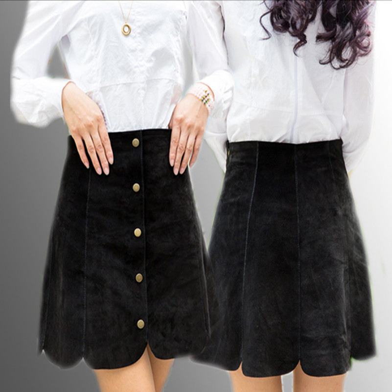 2016 Spring summer micro leather skirt women A Line jupe sexy ...