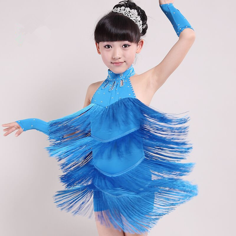 2016 New Tassel Sequins Children Dress Girls Lacing Latin Dance Costumes Children's Sleeveless Performance Dress with Wristband pegasus girls sexy latin dance dress fashion female dance dress1448 new clothes and costumes